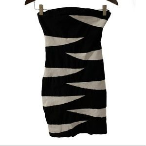 Ruby Rox Strapless Black & White Cocktail Dress